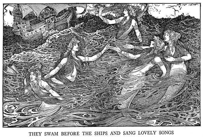 mermaid print sang lovely songs